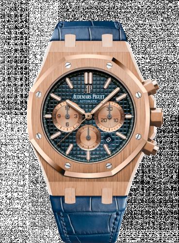 Royal Oak Chronograph 41 Pink Gold / Blue / Alligator