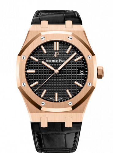 Royal Oak 15500 Pink Gold / Black / Strap