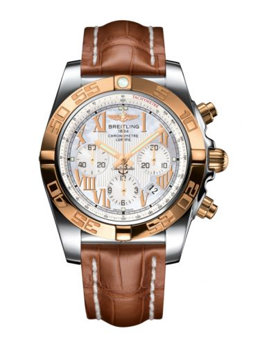 Chronomat 44 Stainless Steel / Rose Gold / Pearl Roman / Croco