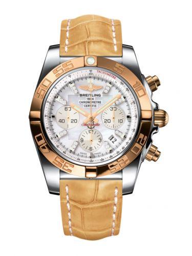 Chronomat 44 Stainless Steel / Rose Gold / Pearl Diamond / Croco