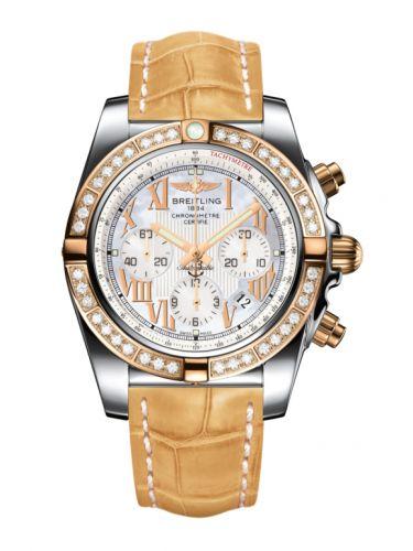 Chronomat 44 Stainless Steel / Rose Gold / Diamond / Pearl Roman / Croco