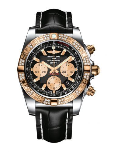 Chronomat 44 Stainless Steel / Rose Gold / Diamond / Onyx Black / Croco