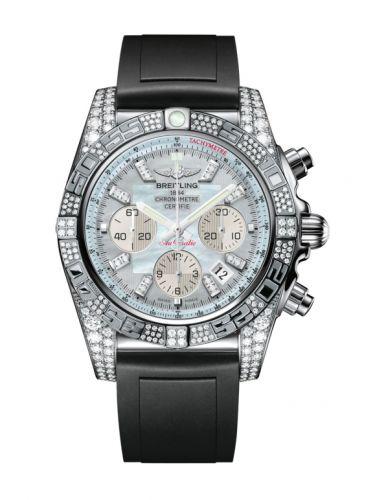 Chronomat 44 White Gold Diamondworks / Gray Pearl Diamond / Rubber