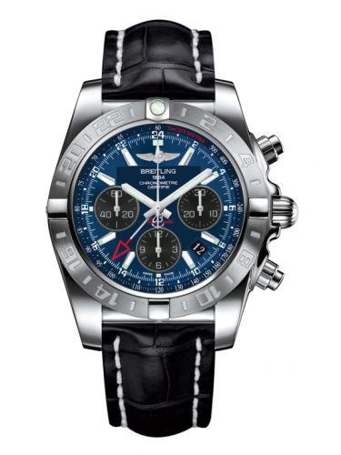 Chronomat 44 GMT Stainless Steel / Blackeye Blue / Croco