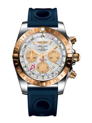 Chronomat 44 GMT Stainless Steel / Rose Gold / Pearl / Rubber