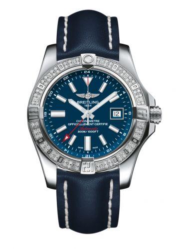 Avenger II GMT Stainless Steel / Diamond / Mariner Blue / Calf
