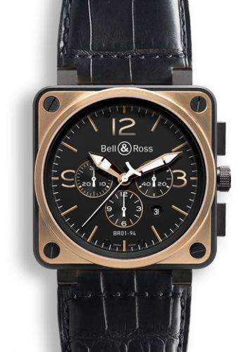 BR 01 94 Pink Gold & Carbon Officer Chronograph