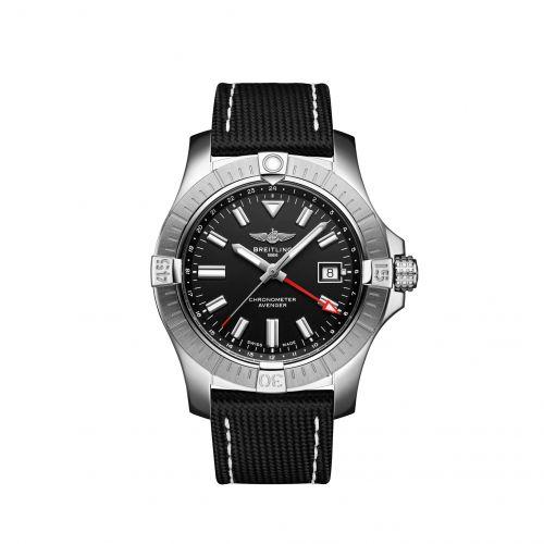Avenger Automatic GMT 43 Stainless Steel / Black / Calf / Folding