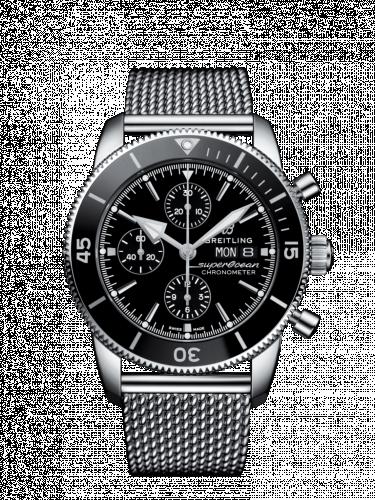 Superocean Heritage II Chronograph 44 Stainless Steel / Black Milanese