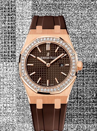 Royal Oak 67651 Quartz Pink Gold / Brown / Rubber