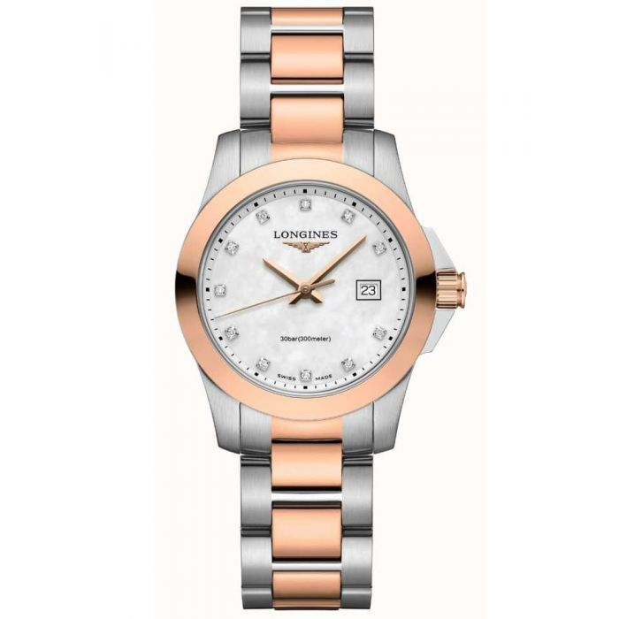 Ladies Longines Conquest Steel & Rose Gold PVD Plated Bi-Colour Mother of Pearl/Diamond Dial Bracelet Watch