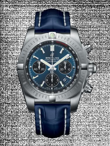 Chronomat B01 Chronograph 44 Stainless Steel / Blackeye Blue / Croco / Pin