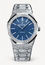 Royal Oak 15410 Frosted White Gold / Blue