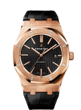 Royal Oak 15400 Pink Gold / Black / Strap