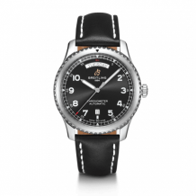 Navitimer 8 Automatic Day & Date 41 Stainless Steel / Black / Black Calf / Folding