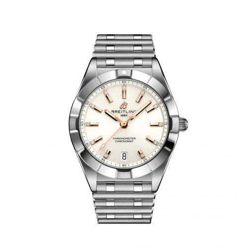 Chronomat 32 Stainless Steel / White - Diamond / Rouleaux